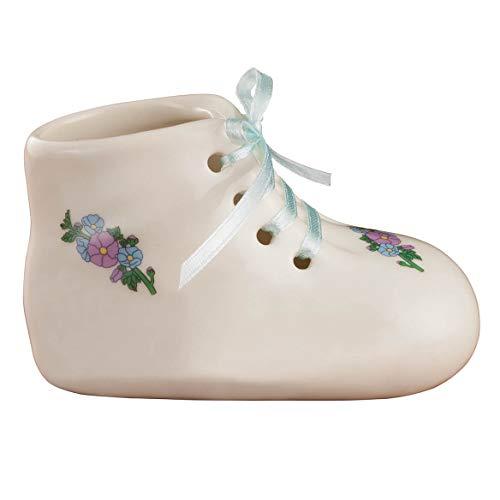 Porcelain Baby Bootie Heirloom - Blue Boy - Ceramic Baby Shoe Keepsake - Birth, Baptism or Christening Gift - 4