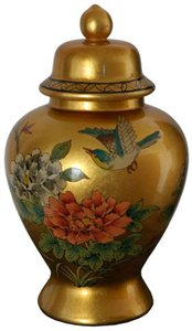 Oriental Furniture 14'' Gold Temple Jar