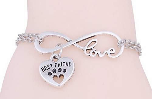 (Sympathy Gift for Loss of Pet Best Friend Love Heart Bracelet with Exclusive Memorial Poem)