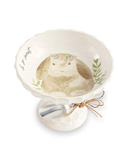 Mud Pie Home Easter Watercolor Bunny Pedestal and Vintage-style Silverplate Scoop 2-piece Set (Tan) 48500085T