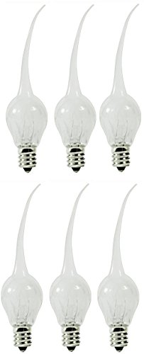 Creative Hobbies® 6 Watt, S6 Shape, Silicone Dipped, Country Style, Electric Candle Lamp Chandelier Light Bulbs, Individually Boxed, Wholesale Pack of 6 Bulbs ()