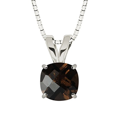Hdiamonds 10k White Gold 8mm Checkerboard Cushion Smoky Quartz 4-Prong Pendant Necklace, 18