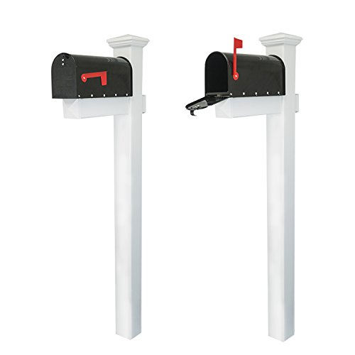 "Houseables Mailbox and Post Kit, Decorative Mail Box Included, White & Black, 72"" x 4"", Vinyl PVC Plastic Post & Mounting Arm, Aluminum Mailboxes, Steel Anchor, Rust Proof, for Home, Residence"