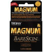 Trojan Magnum Bareskin 3 Pack Large Size Condoms (Hulk Candy Bowl Holder)