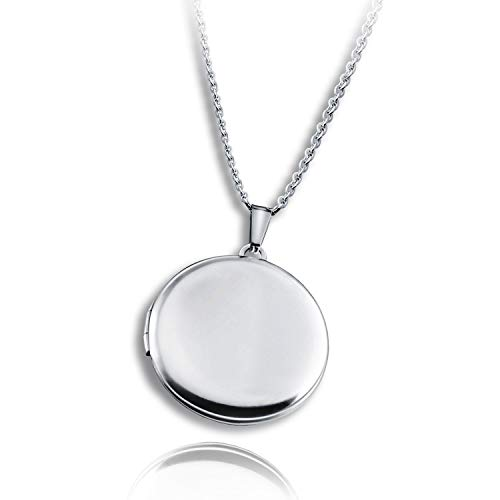PHOCKSIN Locket Necklace That Holds Pictutes Round Shaped Stainless Steel Necklace for Women Men ()
