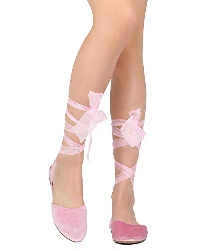 Cape Robbin Juliet-3 Fluwelen Sandalen Met Veters Voor Dames - Casual, Chic, Kostuum - Pure Enkel Wrap Plat Roze