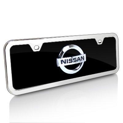 Black Acrylic License Plate (Nissan 3D Logo Half-size Black Acrylic License Plate with Chrome Frame Kit)