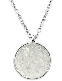 Silver Round Necklace with Druzy Stone