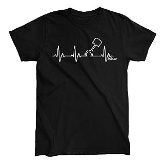 Heart Beat Piston T-Shirt (Small) Black