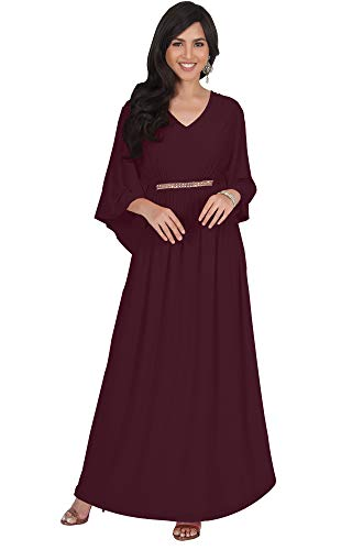 - KOH KOH Plus Size Womens Long V-Neck Half Batwing Dolman Sleeve Evening Cocktail Flowy Empire Waist Bridesmaid Formal Kaftan Wedding Guest Gown Gowns Maxi Dress Dresses, Maroon Wine Red XL 14-16
