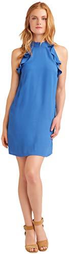 Jack by BB Dakota Womens Necks question Medium Crepe Halter Dress w/Ruffle Details, sea Blue, Large
