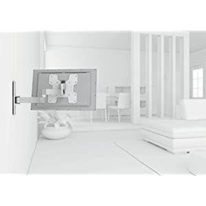 Vogel's TV Wall Mount 180° Articulating Swivel and Tilt - WALL series, WALL 2145W Wall Mount for 19 to 40 inch TV, White/Silver