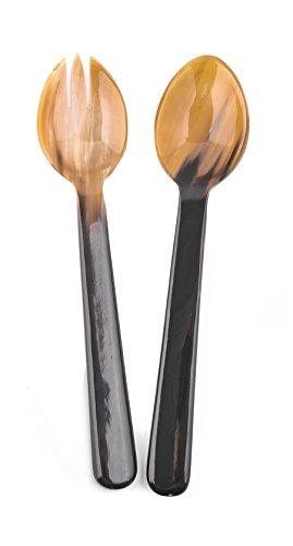 Marycrafts Set of Buffalo Horn Salad servers Set Spoon and Fork Set Length 10