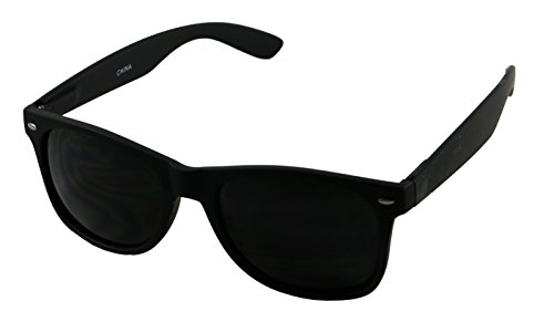 Basik Eyewear - Super Dark Black Retro Wayfarer 80's Casual UV400 Sunglasses (Soft Black Frame, Dark - Dark Mens Sunglasses