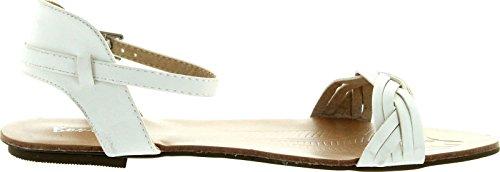 Bonnibel Women Maya-2 Weave Vamp Band Gesp Enkelbandje Platte Sandalen Wit