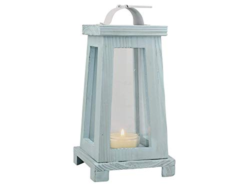 Stоnеbriаr Home Decor Coastal Worn Blue Wooden Candle Lantern, Nautical Home Decor, for Table Top or Wall Hanging Display, Can Be Used Indoor or Outdoor