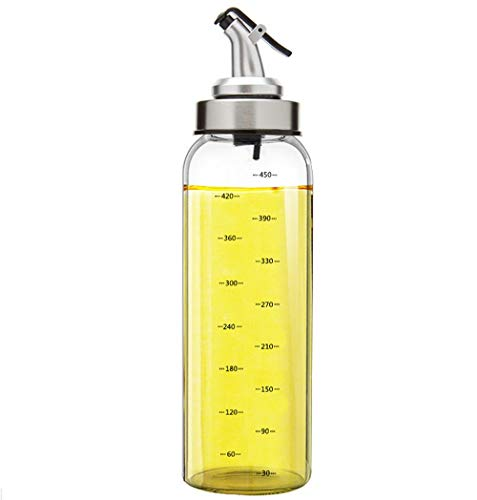$13.99 Fyuan Olive Oil and Vinegar Dispenser - 17 oz Clear Glass Cruet Bottles for Cooking with No Drip Spout Stoppers - Kitchen Dispensing Cruets-Oil Pourer Dispensing Bottle, Pack of 1
