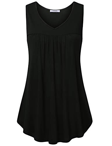 Youtalia Womens Tops for Leggings, Summer Sleeveless Tunic Tops V Neck Blouses Casual Loose Fit Pleats Swing Tank Top Flowy Flattering Womens Shirts Black Medium