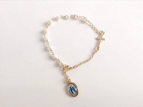Virgin Mary Miraculous Medal cultured pearls bracelet Virgen de La Milagrosa
