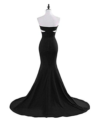 Bowith Coupé Femmes En Robe De Bal Sirène Robe De Soirée Longue De Demoiselle D'honneur Du Parti Noir
