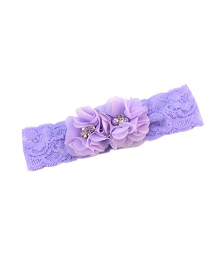 Baby Girls Lace Headband with Double Chiffon Flowers Pearl Hairband Headwrap JA68 (5-Lavender)