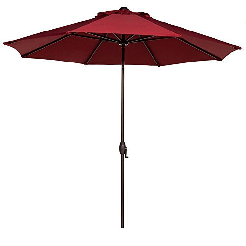 Abba Patio 9 Ft Fade Resistant Sunbrella Patio Umbrella with Auto Tilt and Crank, Alu. 8 Ribs, Red