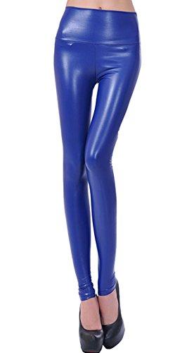 Nuevo fashion para mujer piel sintética de gran calidad cintura pantalones de espacios de piel sintética para azul marino