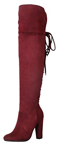 Refresh Footwear Women's Over The Knee Lace Up Back Stacked Chunky Heel Boot (8 B(M) US, Burgundy)