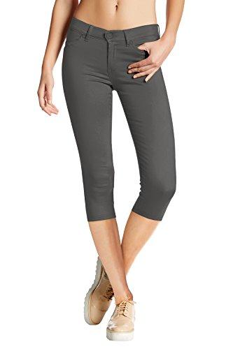 HyBrid & Company Women's Hyper Stretch Denim Capri Jeans Q44876 Charcoal ()