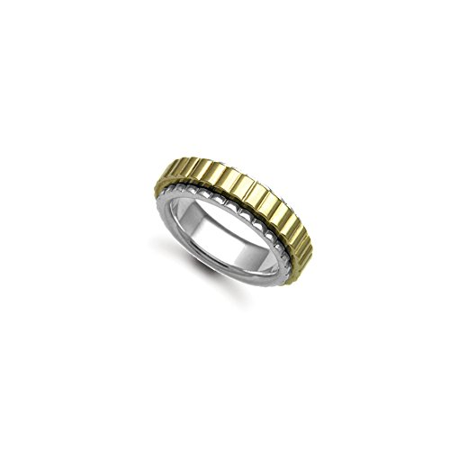 7 mm – 18 ct Oro Blanco/Oro amarillo Spinner boda banda anillo