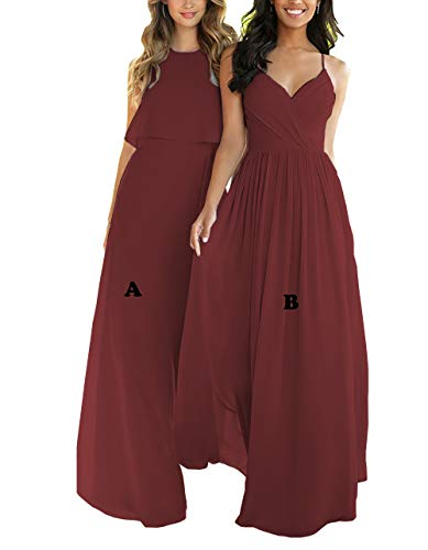 Nicefashion Women's Spaghetti Straps V Neck Empire Ruffles Chiffon Long Bridesmaid Dresses Burgundy US2 ()