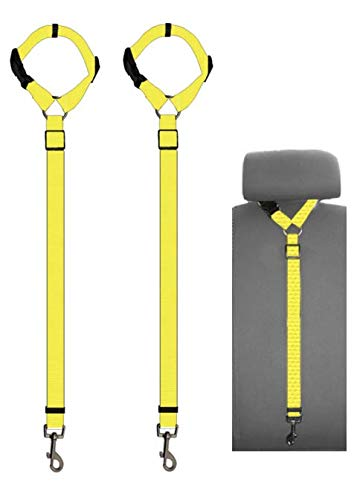 Doggy Car Headrest Restraint - Animal Safety Seat Belt Strap - Adjustable Nylon Fabric Harness for Dog – Easy Vehicle Travel with Pet – Durable Zipline & Tether Backseat for Traveling (Yellow) by Pets-N-Stuff