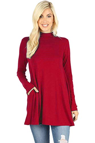 12 Ami Long Sleeve Solid Mock Neck Pocket Swing Tunic T-Shirt Top Red XXL