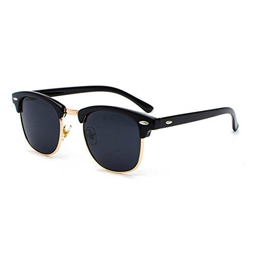 rétro hommes de monture avec polarisés Yefree UV400 demi Lunettes Or Gris Femmes soleil verres Noir ZxfwqaS
