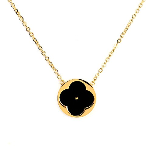 Gold Tone Necklace with Contemporary Cut Out Clover Design and Faux Onyx Inlay (160061)