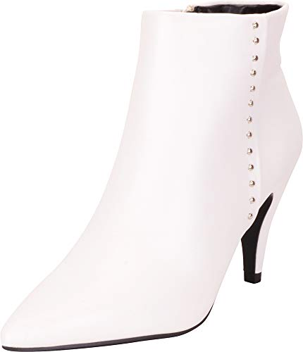 Cambridge Select Women's Pointed Toe Studded Mid Heel Ankle Bootie,5.5 B(M) US,White PU