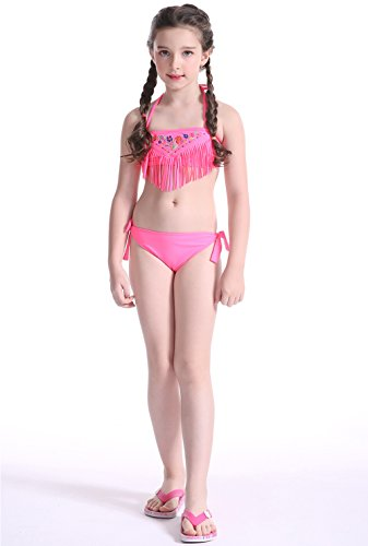2 Piece Girls Halter Swimsuit (Two Piece Girls Halter Bikini Swimsuits Bathing Suit Beach Sport Swim Wear Pink)