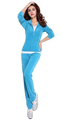Aivtalk Women 1 Set of Rompers Overalls Tracksuit Front Zipper Hoodie Coat - Light Blue - - Hoodie Blue Velour