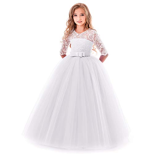 Flower Girl Long Princess Dress Vintage Lace Maxi Gown Kids Formal Wedding Bridesmaid Pageant Tulle Dresses Little Big Girls Elegant Bowknot Dance First Communion Birthday Prom Dresses White 3-4Y ()