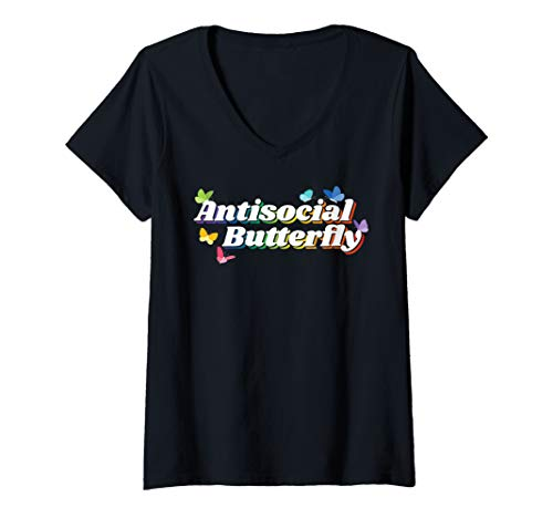 Womens Rainbow Introvert Antisocial Butterfly V-Neck T-Shirt