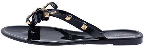 Flip New Floral Capelli Ladies Opaque Flops York Black Studs Pom Jelly Hqp01U