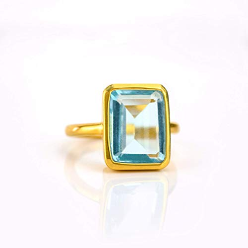 Large Blue Topaz Ring, Statement Ring, Vermeil Gold or silver, bezel set ring, large rectangular ring, bluegemstone ring, December Birthstone ring, December Birthday - Topaz Vermeil Ring