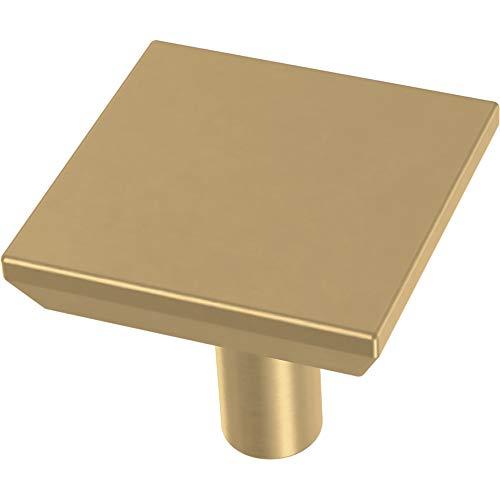 Franklin Brass P40847K-117-C Simple Chamfered Square Kitchen or Furniture Cabinet Hardware Drawer Handle Knob, 1-1/8-Inch (29mm), Brushed Brass, 10-Pack (Dresser Knobs Gold For)