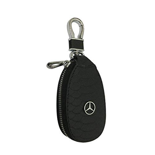 New 1pcs Black Leather Eye Drop Shape Car Key Wallet Zipper Case Keychain Coin Holder Metal Hook Bag Collection For Mercedes Car Vehicle Auto Lover