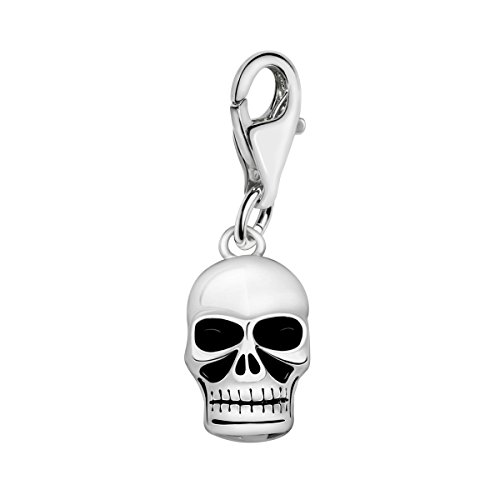 Quiges 925 Sterling Silver 3D Skull Lobster Clasp Charm Clip on Pendant