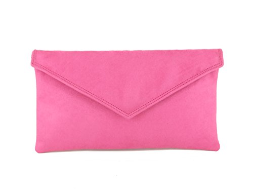 Bag Fuschia Pink Neat Suede Shoulder Clutch Loni Envelope Bag Womens Faux Hot 8wPFqPT