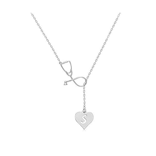 BELUCKIN Silver Medical Stethoscope Heart Initial Alphabet Letter Lariat Necklace Jewelry for Doctor Nurse Gift(Silver S)