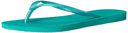 Havaianas Rubber Sole Sandals - Havaianas Women's Slim Flip Flop Sandal, Lake Green/Lake Green, 11-12 M US