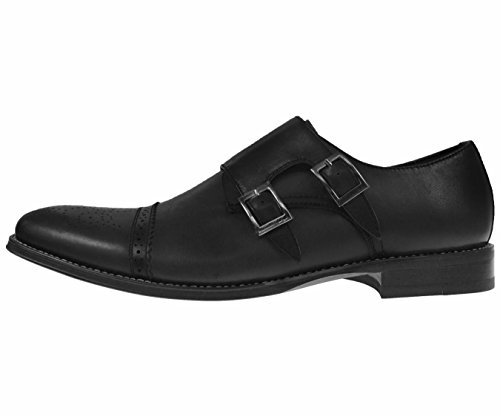 Asher Green Mens Genuine Leather Classic Double Monk Strap Dress Shoe With Cap Toe Style Stowe Black pp81N1NpXT