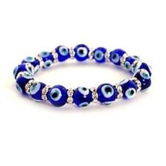 Siddhratan Evil Eye Bead Bracelet 10mm Blue Stretch Good Luck Protection Glass Lampwork ()